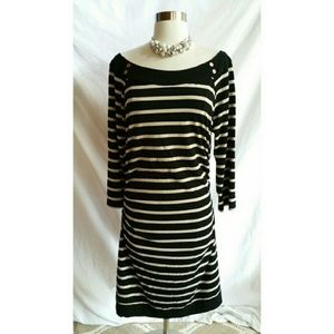 WHBM Gold and Black Striped Dress